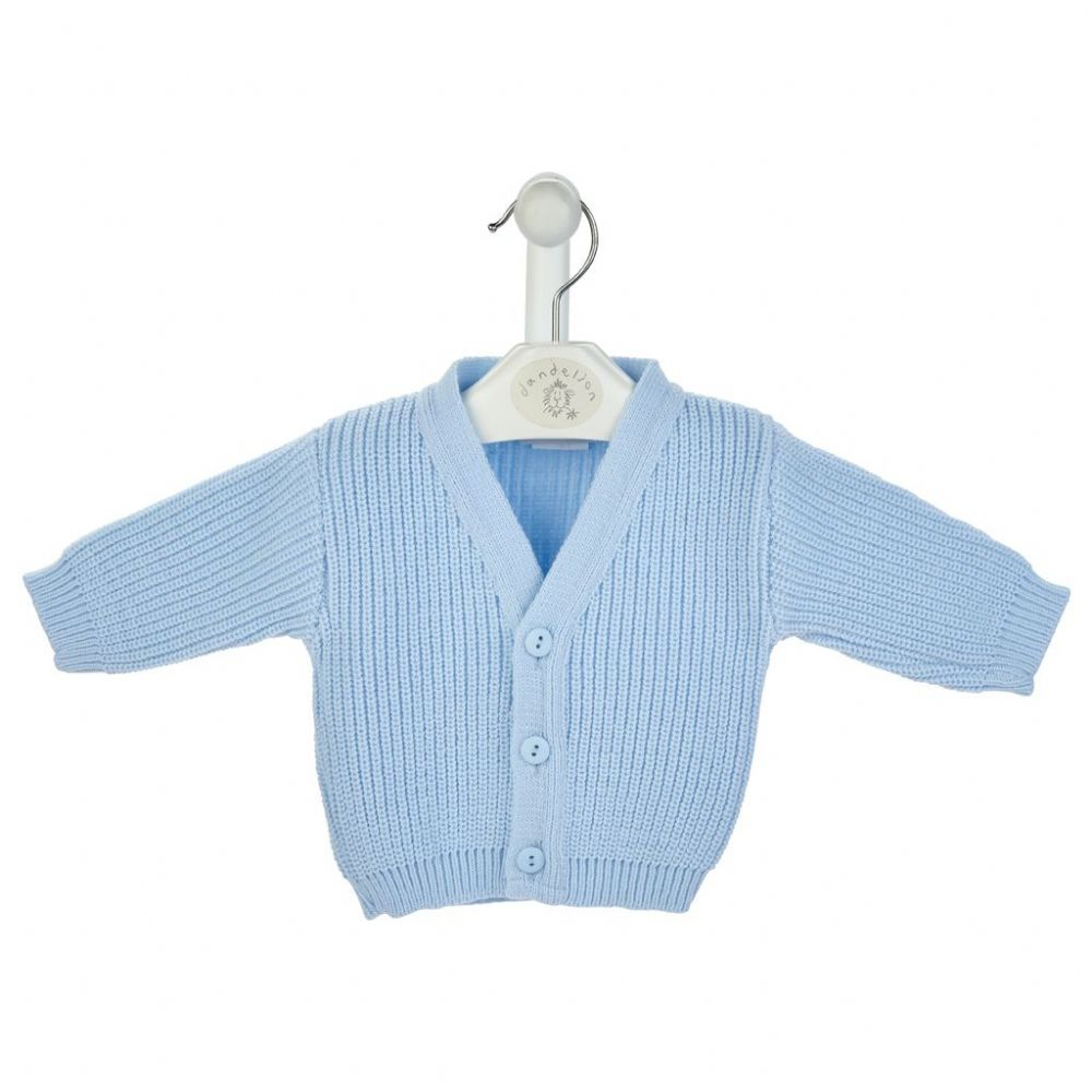 B108B - Blue Ribbed  knitted Baby Cardigans